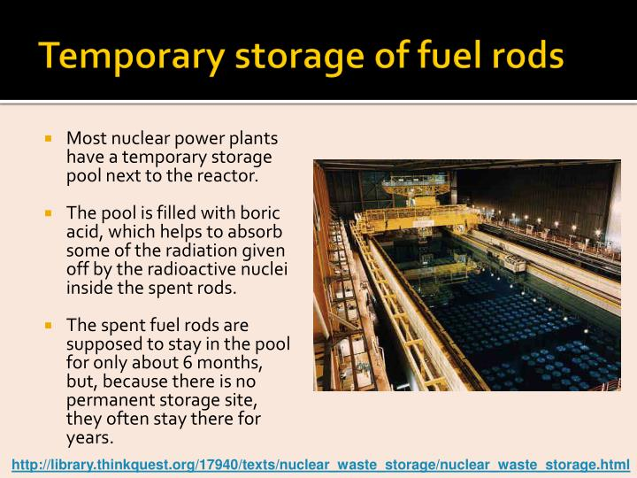 Temporary storage of fuel rods