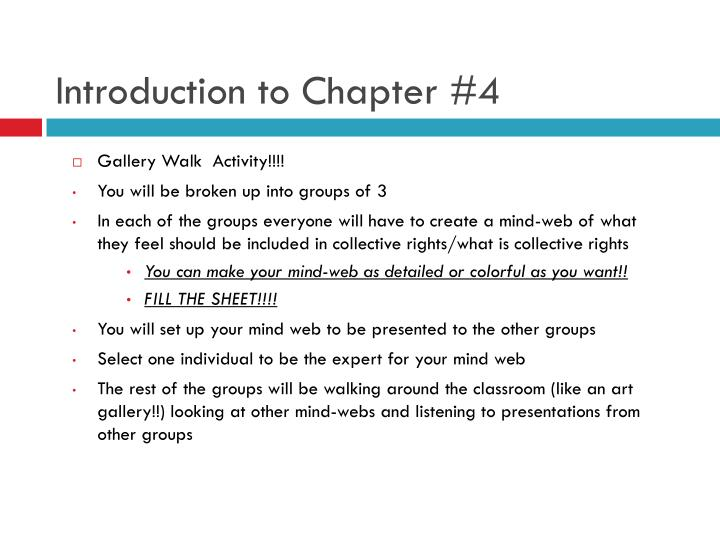 Introduction to Chapter #4