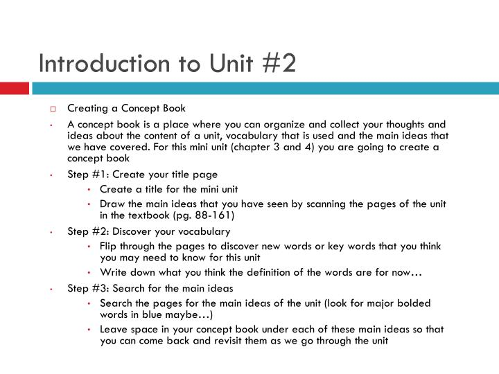 Introduction to Unit #2