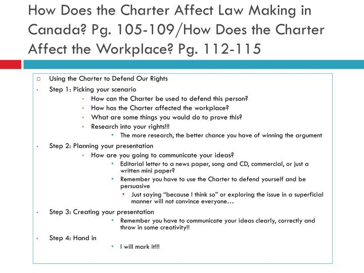 How Does the Charter Affect Law Making in Canada? Pg. 105-109/How Does the Charter Affect the Workplace? Pg. 112-115