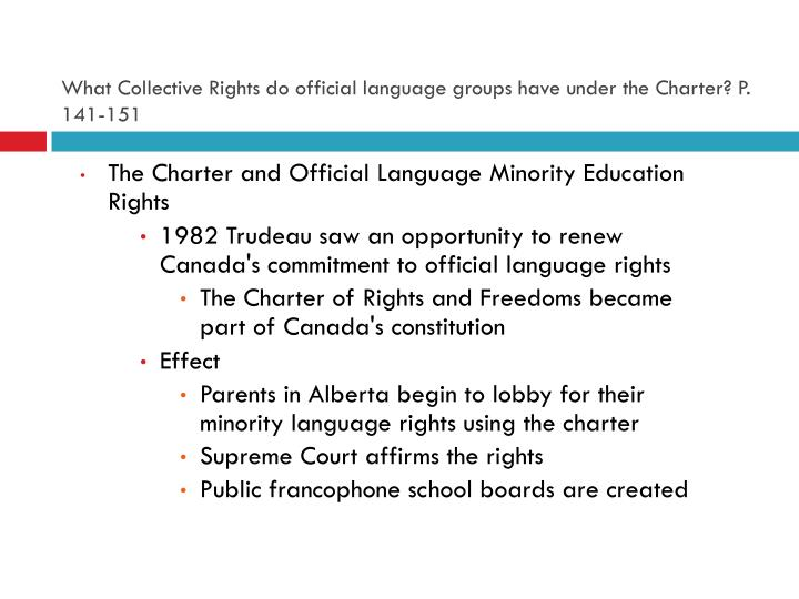 What Collective Rights do official language groups have under the Charter? P. 141-151