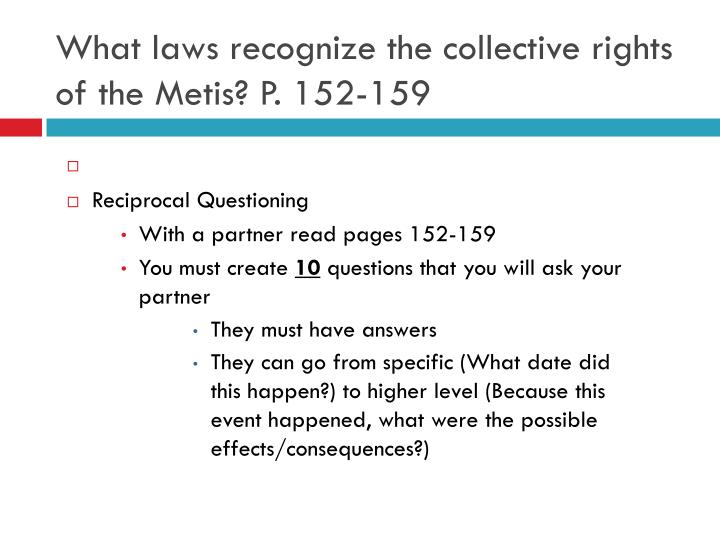 What laws recognize the collective rights of the Metis? P. 152-159