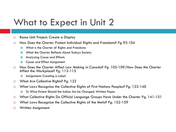 What to expect in unit 2