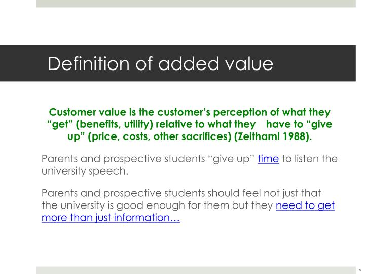Definition of added value