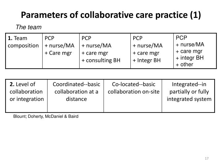Parameters of collaborative care practice (1)