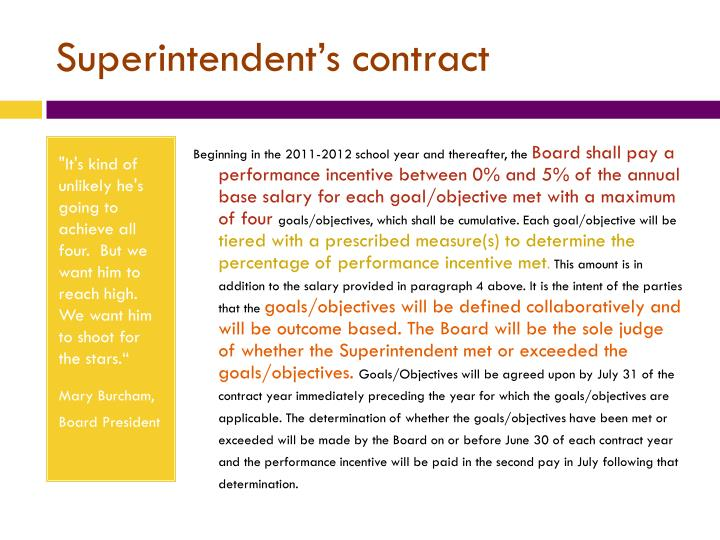 Superintendent's contract