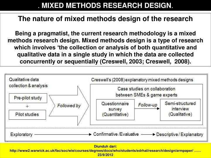mixed method designs  deconstructing mixed methods research: week nine application deconstructing mixed methods research: week nine application mixed method research involves using both qualitative and quantitative research designs to conduct a.