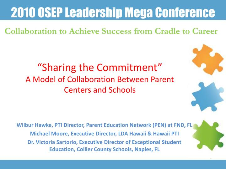 sharing the commitment a model of collaboration between parent centers and schools n.