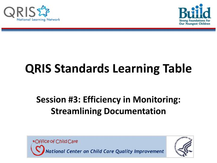 Qris standards learning table