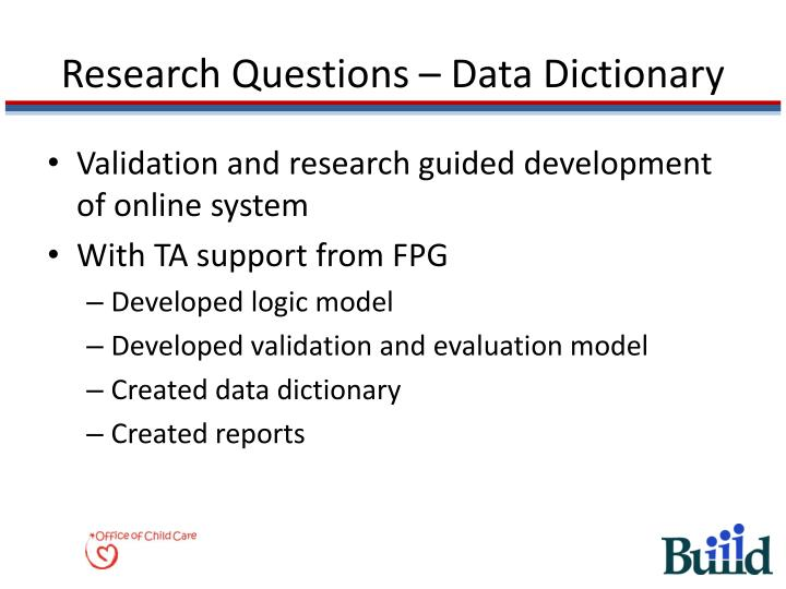 Research Questions – Data Dictionary