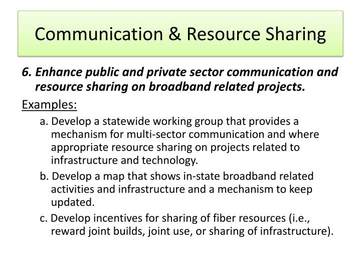 Communication & Resource Sharing
