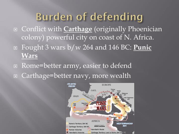 Burden of defending