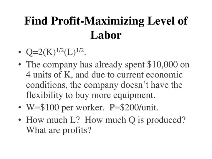 Find Profit-Maximizing Level of  Labor