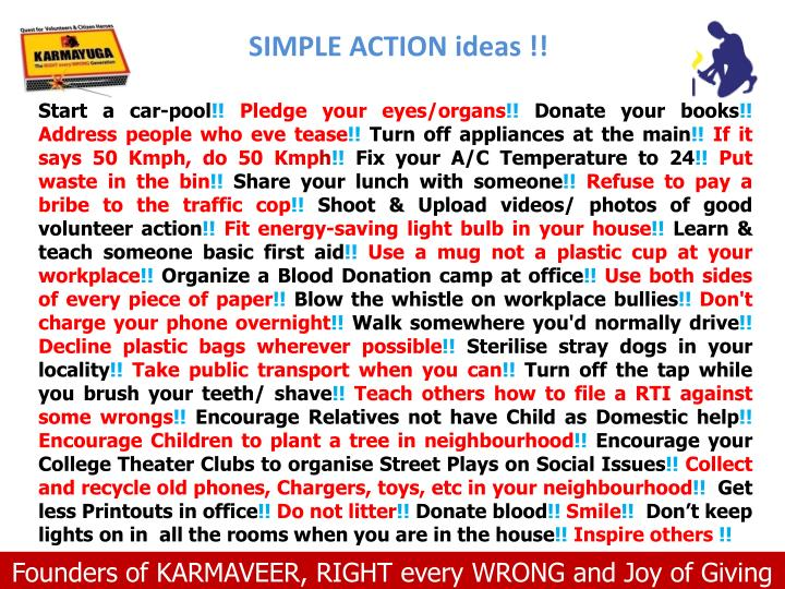 SIMPLE ACTION ideas !!