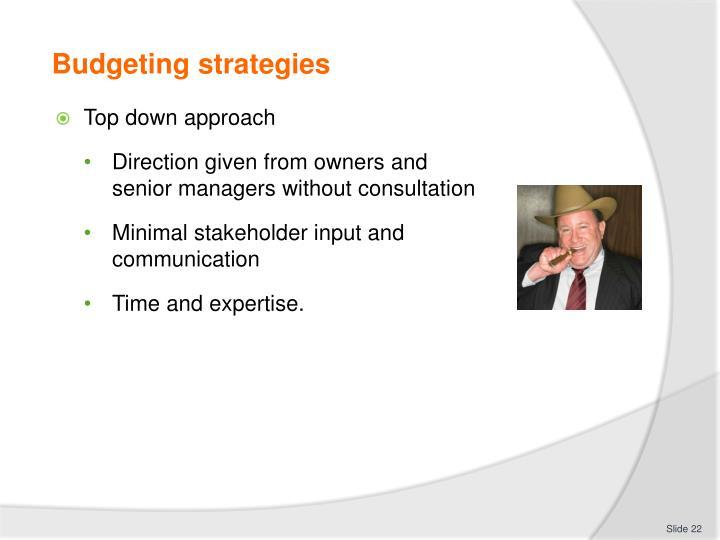 Budgeting strategies