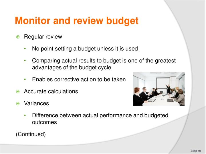 Monitor and review budget