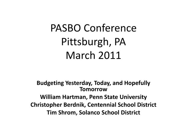pasbo conference pittsburgh pa march 2011 n.