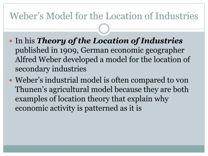 Weber's Model for the Location of Industries
