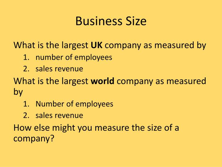 business size n.