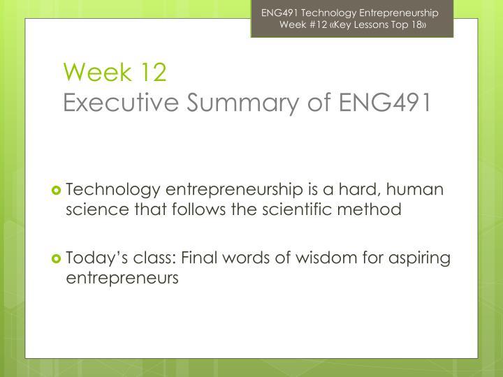 Week 12 executive summary of eng491