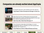companies are already excited about appcopia
