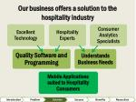 our business offers a solution to the hospitality industry