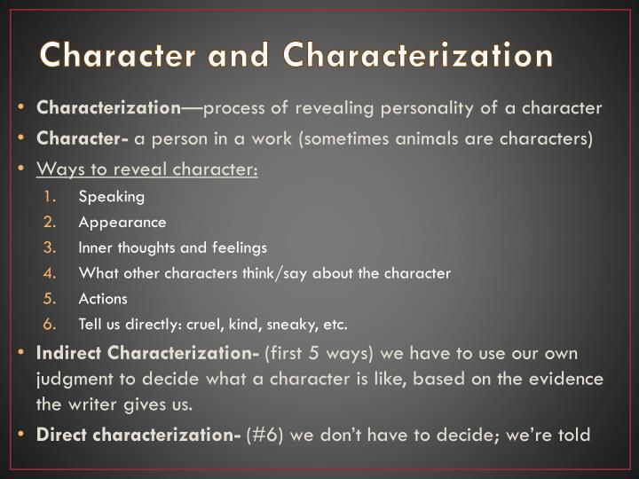 Character and Characterization