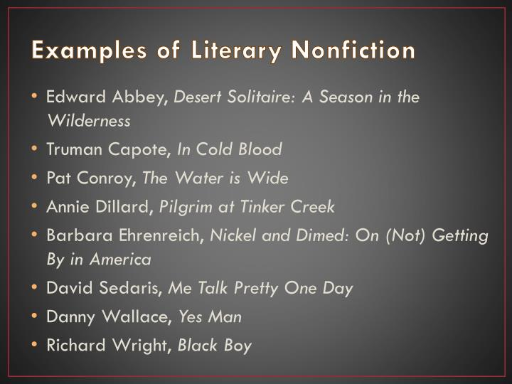 Examples of Literary Nonfiction