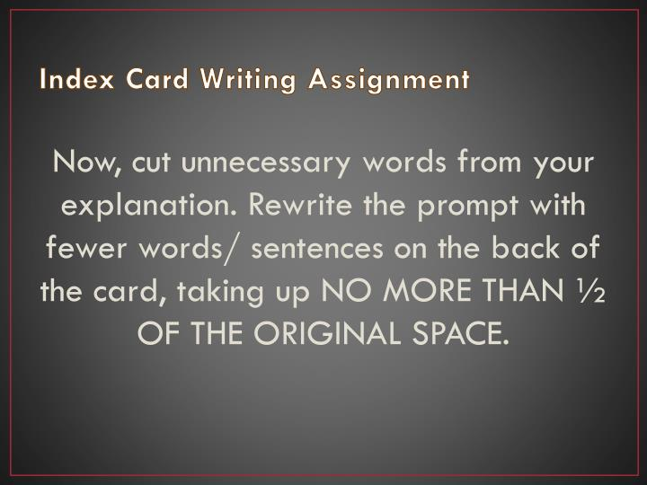 Index Card Writing Assignment