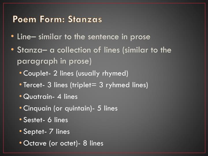 Poem Form: Stanzas