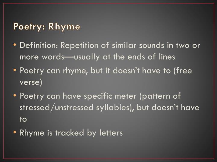 Poetry: Rhyme