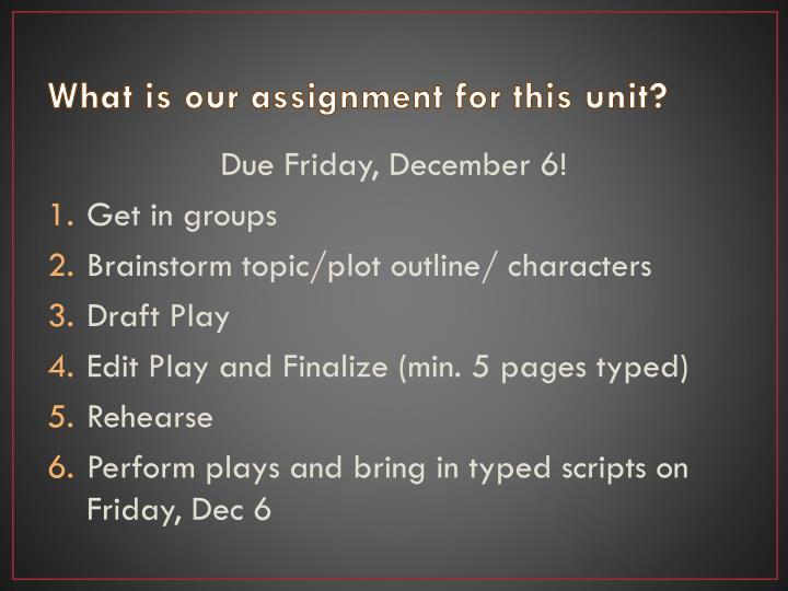 What is our assignment for this unit?