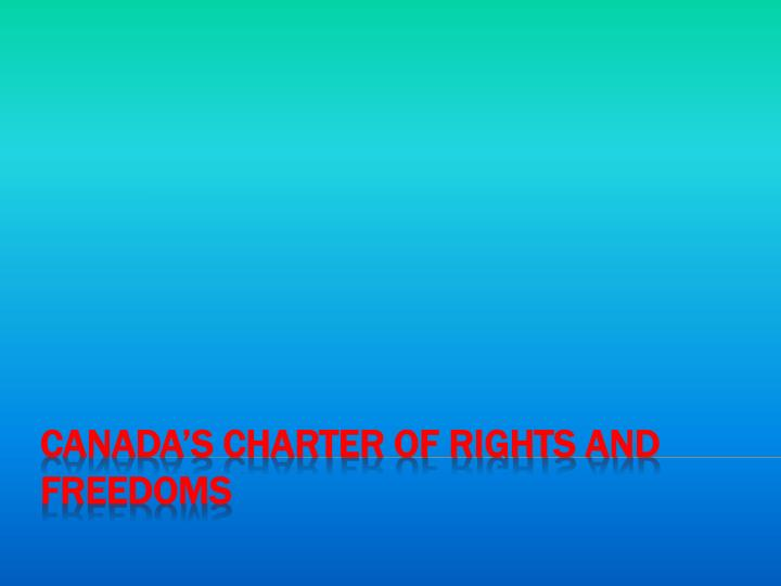 canada s charter of rights and freedoms n.