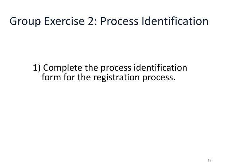 Group Exercise 2: Process Identification
