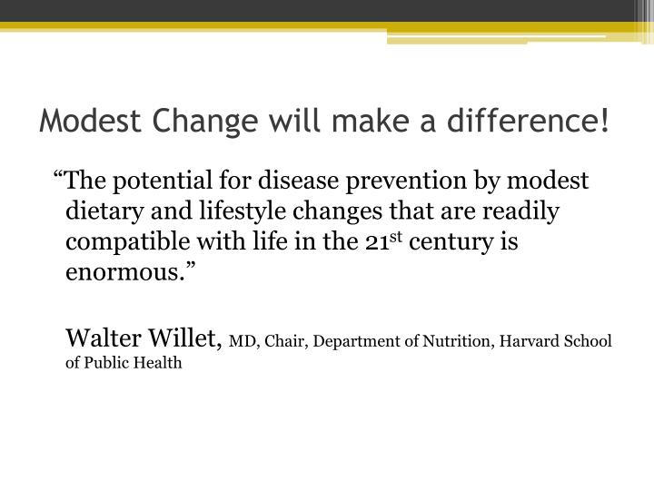Modest Change will make a difference!