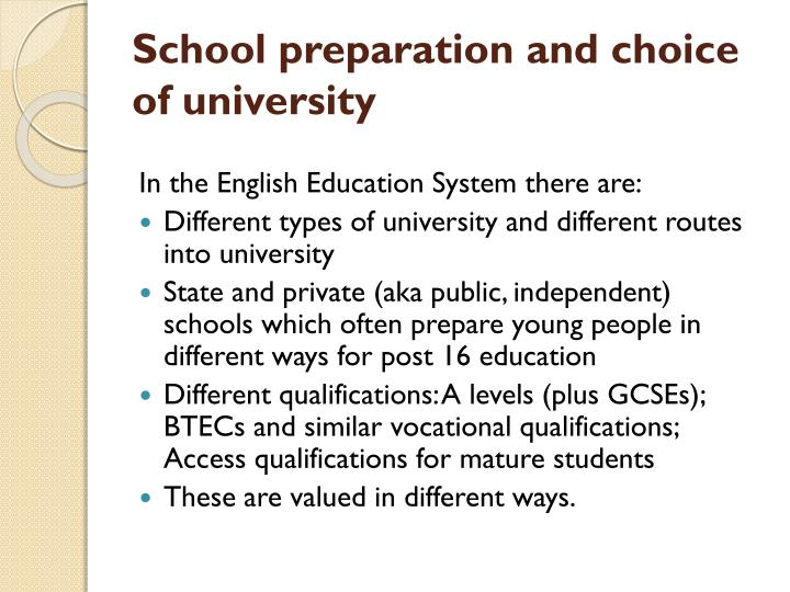 school preparation and choice of university n.