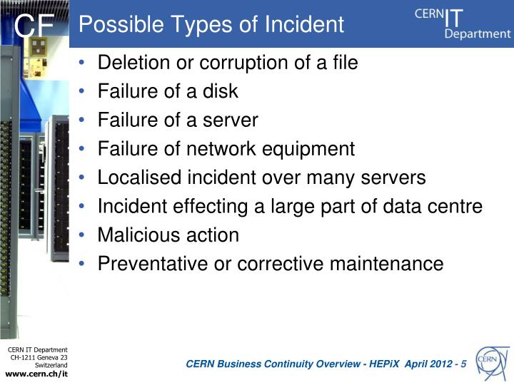 Possible Types of Incident