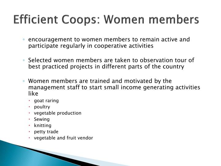 Efficient Coops: Women members