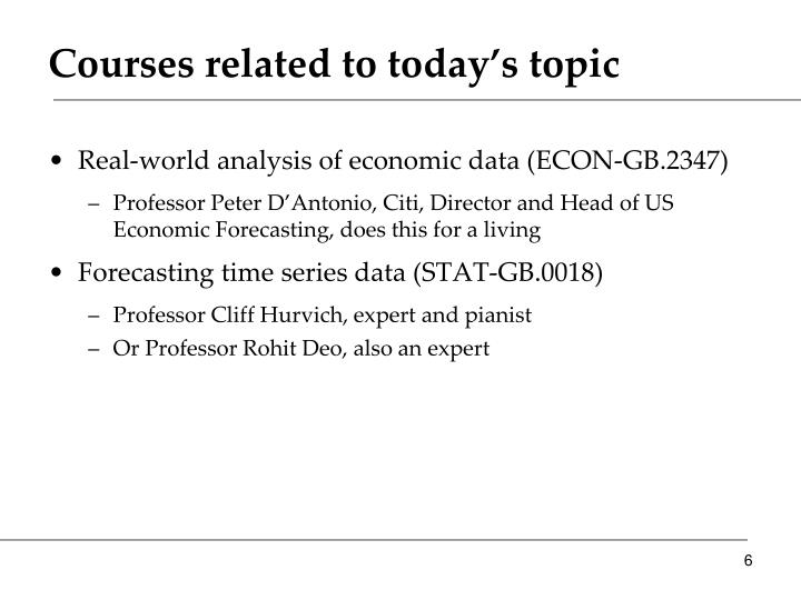 Courses related to today's