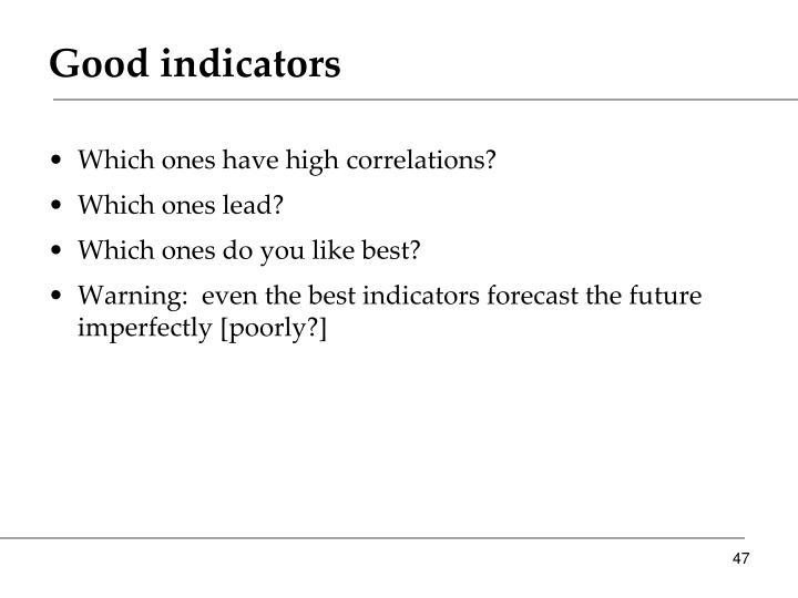 Good indicators