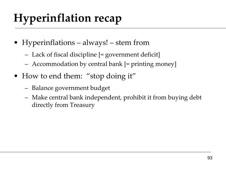 Hyperinflation recap
