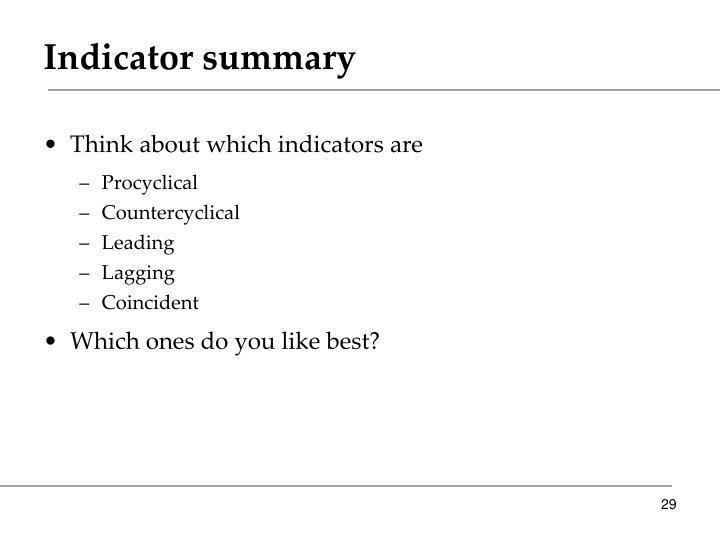 Indicator summary