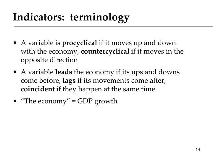 Indicators:  terminology