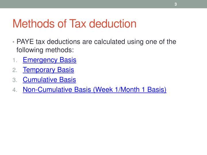 Methods of tax deduction