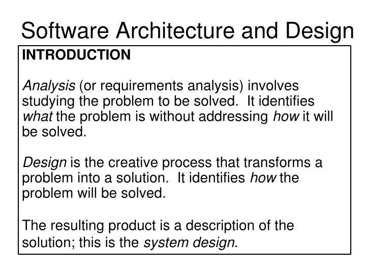 Software Architecture and Design
