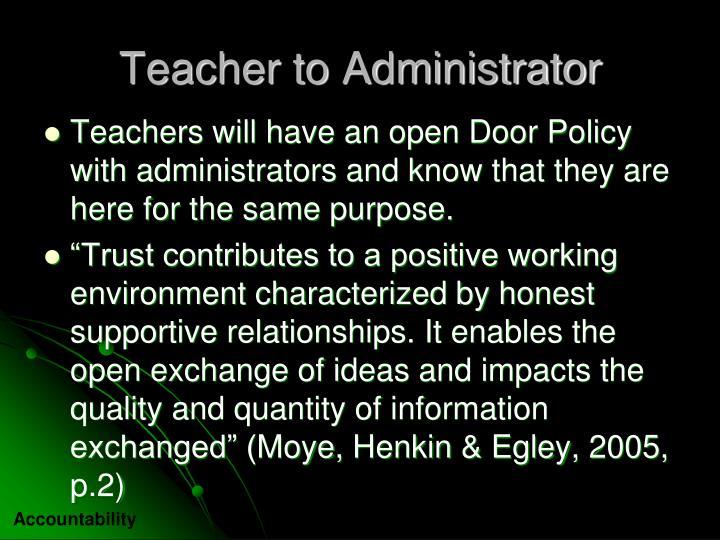 Teacher to Administrator