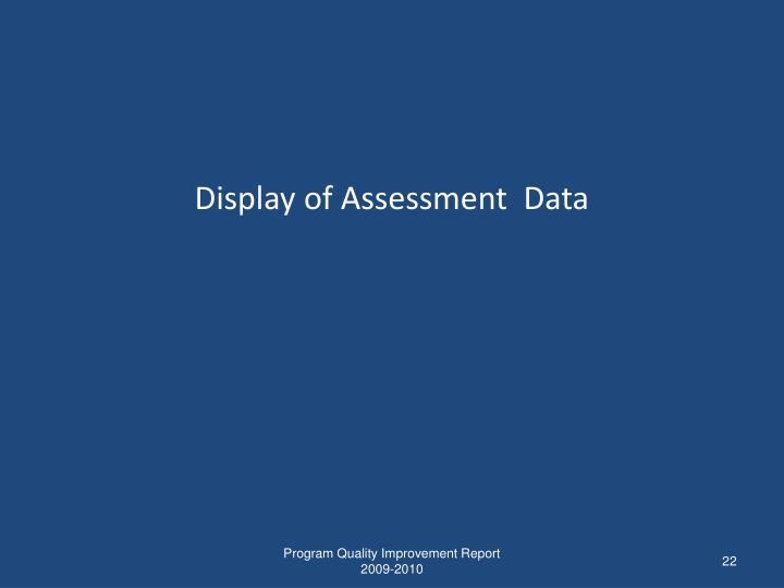 Display of Assessment  Data