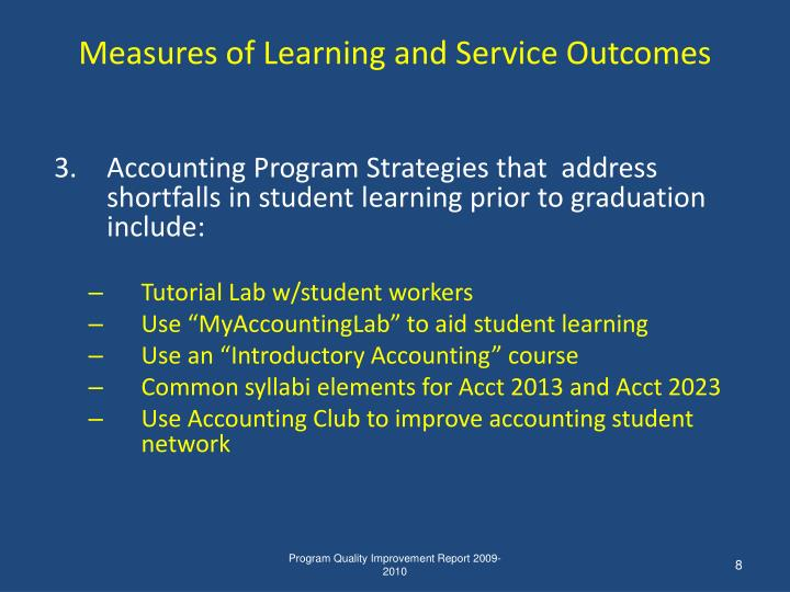 Measures of Learning and Service Outcomes