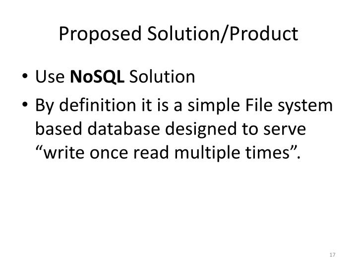Proposed Solution/Product