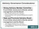 advisory governance considerations